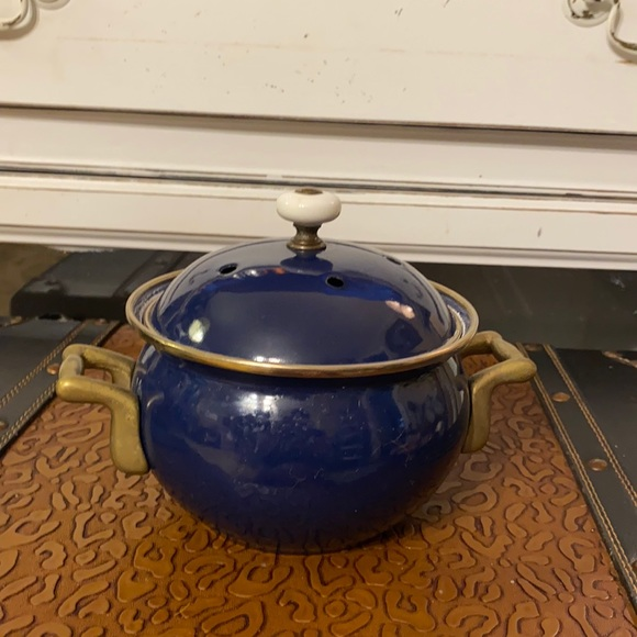 Vintage Brass Normandy Blue Enameled Potpourri Pot